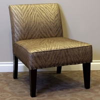 Belinda Accent Chair - Metallic Woven Linen, Espresso Wood Legs