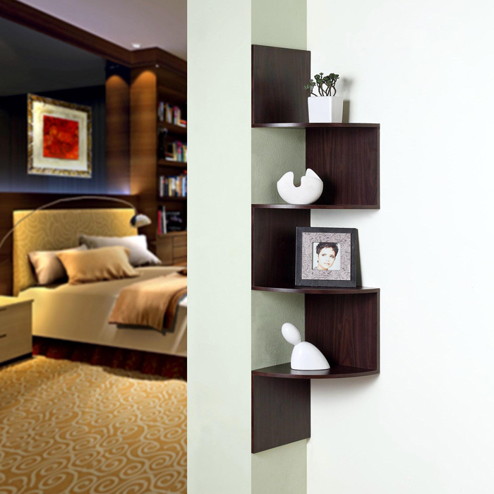 Hanging Corner Display Unit - 4 Shelves, Chocolate Brown Finish - 4DC-99300