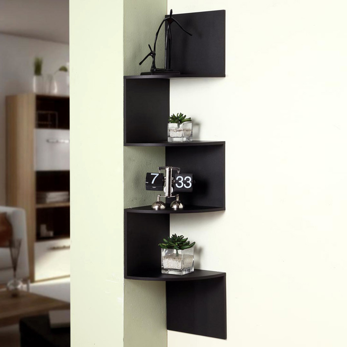 Hanging Corner Display Unit - 4 Shelves, Black Finish - 4DC-99900