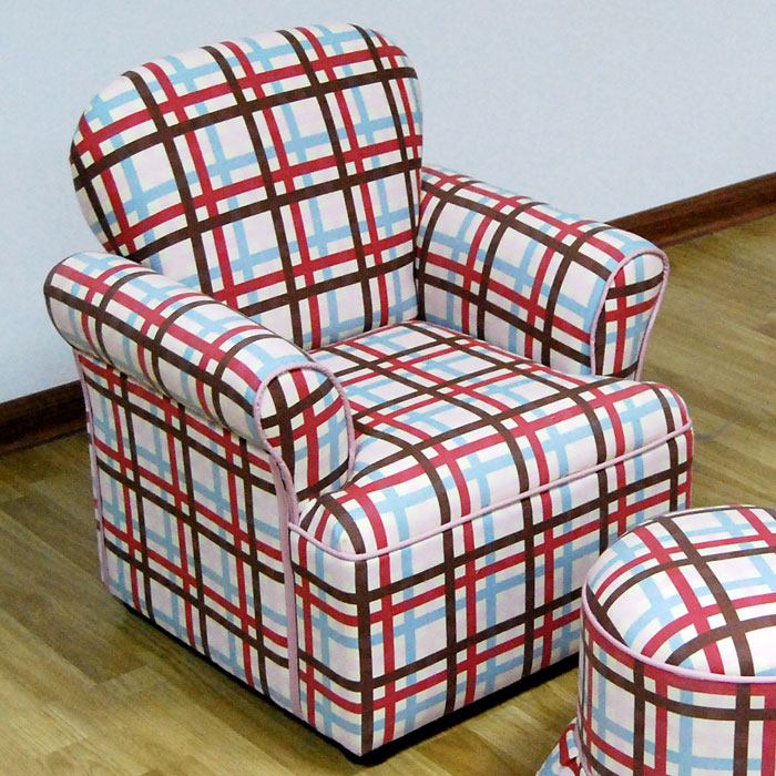 kids chair with ottoman plaid rolled arms dcg stores. Black Bedroom Furniture Sets. Home Design Ideas