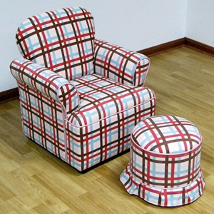 Kids Chair with Ottoman - Plaid, Rolled Arms