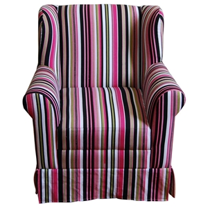 Girls Wingback Chair - Skirt, Rolled Arms, Multi Colored Stripes