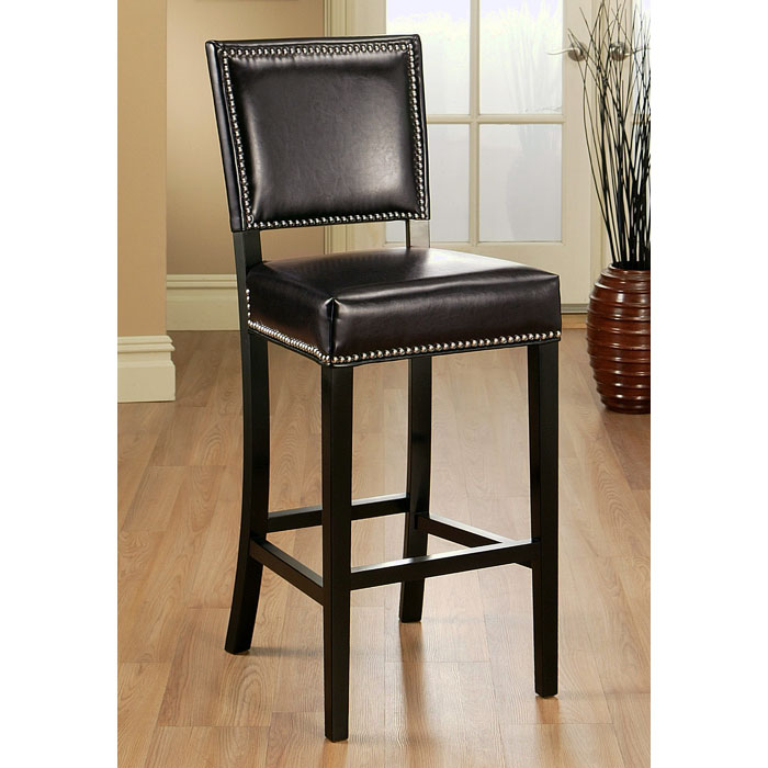 Mercer 30 Quot Leather Bar Stool Nailhead Accent Brown