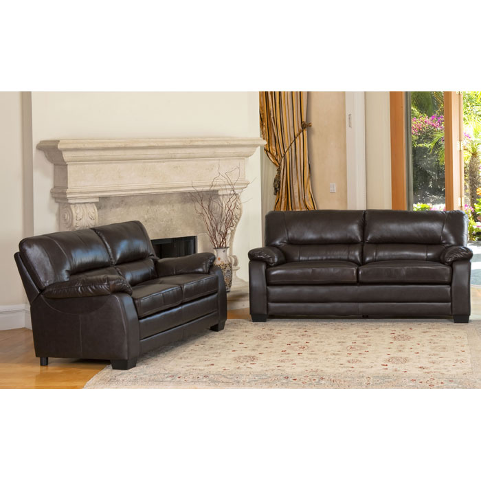 Brentwood Loveseat And Sofa Set In Dark Brown Leather Dcg Stores