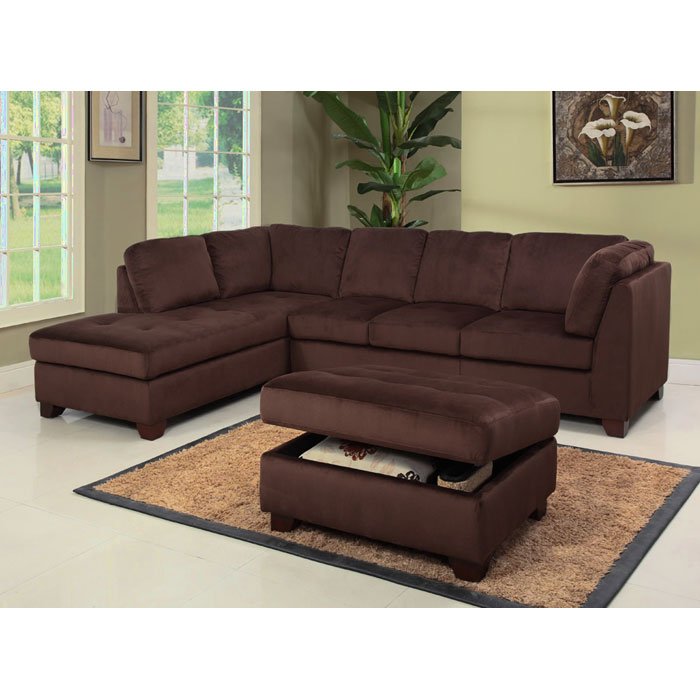 delano microsuede sectional sofa chaise with storage ottoman dcg