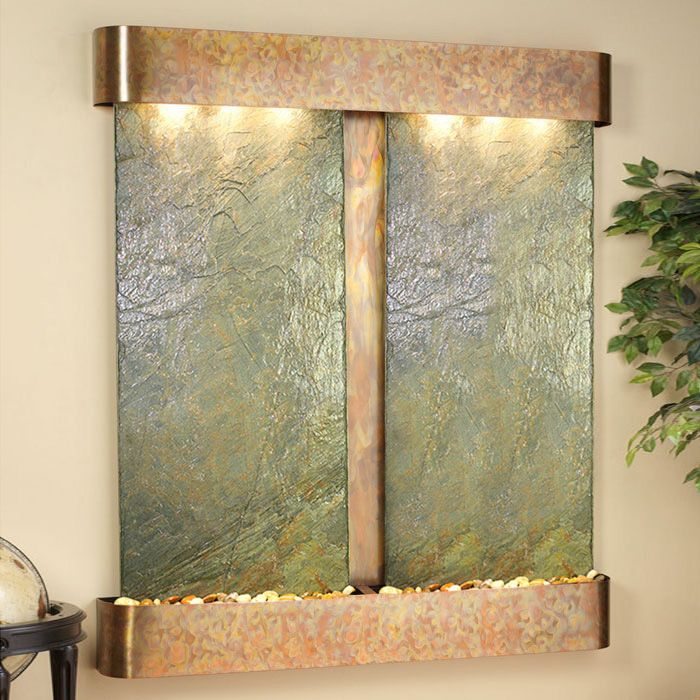 Cottonwood Falls Green Slate Wall Fountain - Round Trim Copper Frame