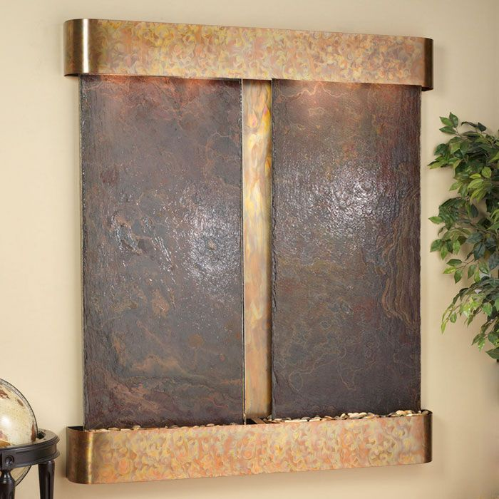 Cottonwood Falls Round Trim Copper Frame Wall Fountain in Rajah Slate