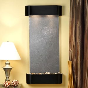 Cascade Springs Wall Fountain in Black Featherstone - Blackened Copper Frame