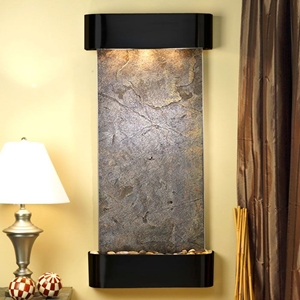 Cascade Springs Green Featherstone Wall Fountain - Blackened Copper Frame