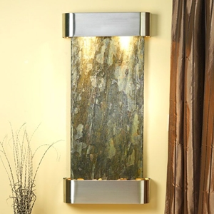Cascade Springs Round Trim Wall Fountain in Green Slate