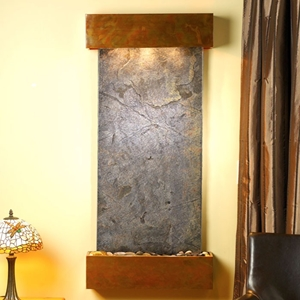 Cascade Springs Green Featherstone Wall Fountain - Square Edge Copper Frame