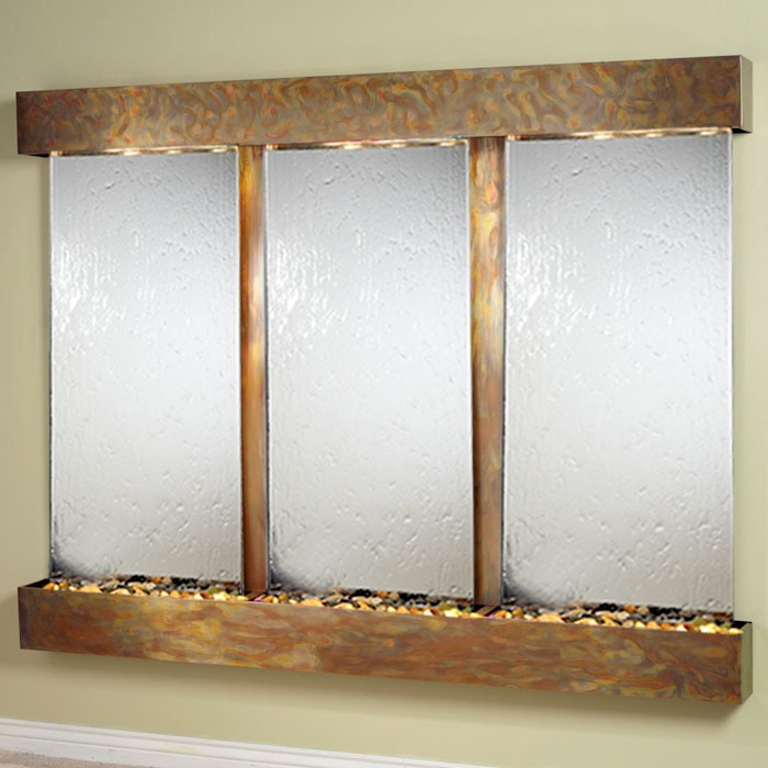Deep Creek Falls Silver Mirror Wall Fountain with Square Trim Copper Frame - ADA-DCFS1040