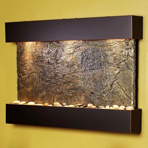 Reflection Creek Blackened Copper Frame Wall Fountain in Green Slate