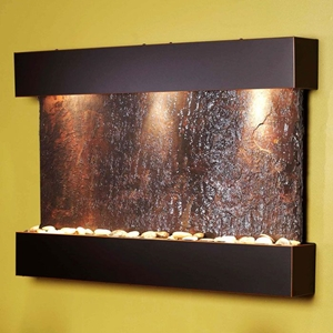 Reflection Creek Blackened Copper Frame Wall Fountain in Rajah Slate