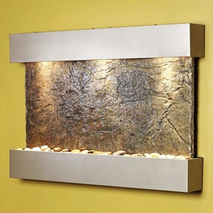 Reflection Creek Silver Metallic Frame Wall Fountain - Green Slate