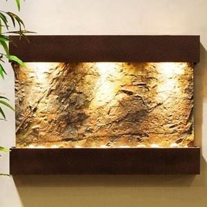 Reflection Creek Green Slate Wall Fountain - Copper Vein Frame