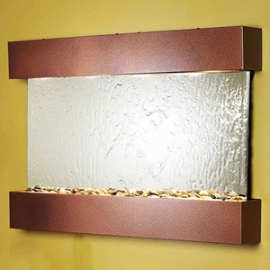 Reflection Creek Silver Mirror Wall Fountain - Copper Vein Frame