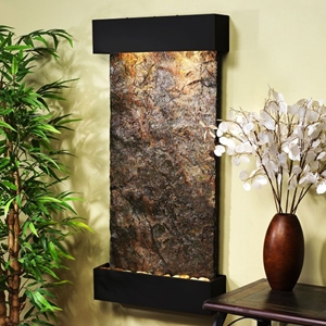 Whispering Creek Green Slate Wall Fountain - Blackened Copper Frame