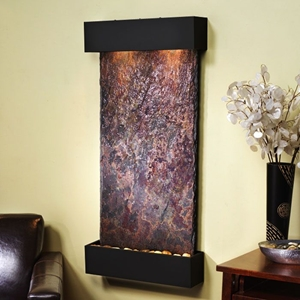 Whispering Creek Blackened Copper Frame Wall Fountain in Rajah Slate
