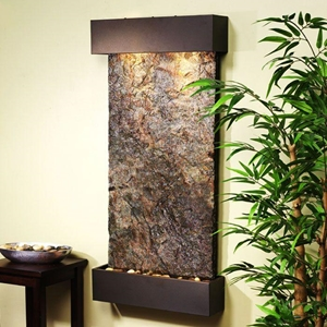 Whispering Creek Green Slate Wall Fountain - Bronze Frame
