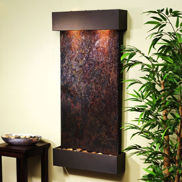 Whispering Creek Bronze Frame Wall Fountain in Rajah Slate