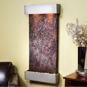 Whispering Creek Silver Metallic Frame Wall Fountain in Rajah Slate