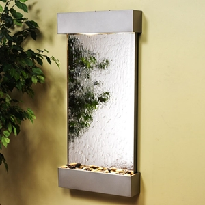 Whispering Creek Wall Fountain in Silver Mirror with Silver Metallic Frame