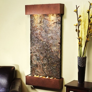 Whispering Creek Green Slate Wall Fountain - Copper Vein Frame
