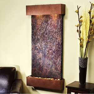 Whispering Creek Copper Vein Frame Wall Fountain in Rajah Slate