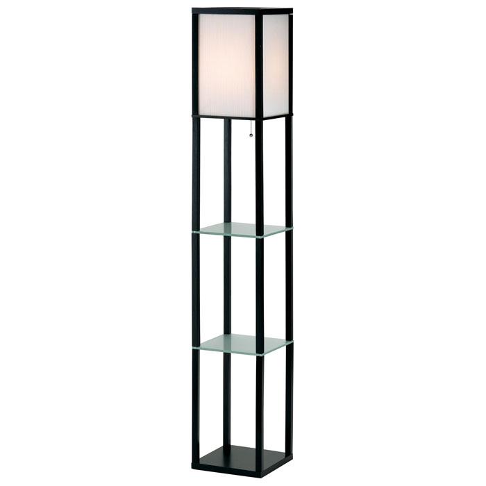 Berk wooden shelf floor lamp dcg stores for Floor lamp with shelves