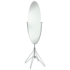Atom Oval Floor Mirror in Satin Steel