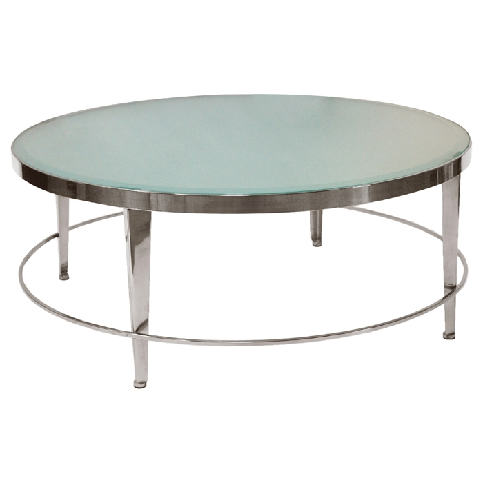 Sarah Round Cocktail Table - Polished Chrome, Frosted Glass - ACD-20602-01R