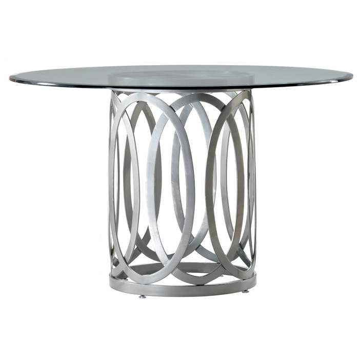 Alchemy Contemporary Dining Table - 48'' Round Glass Top - ACD-20603-04-G48R
