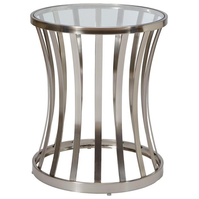 Alex Metal End Table   Satin Nickel Base, Glass Top   ACD 20702  ...