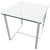 Edwin End Table - Chrome Plated Sleigh Legs, Square Glass Top - ACD-20803-02