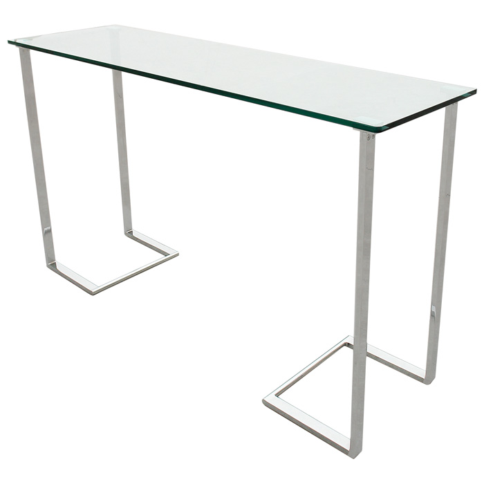 Edwin Console Table   Chrome Plated Base, Rectangular Glass Top    ACD 20803  ...