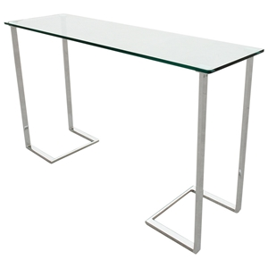 Edwin Console Table - Chrome Plated Base, Rectangular Glass Top