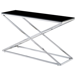 Excel Stainless Steel Console Table - X Base, Black Glass Top