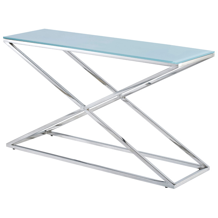 Excel Stainless Steel Console Table   X Base, Clear Glass Top | DCG Stores