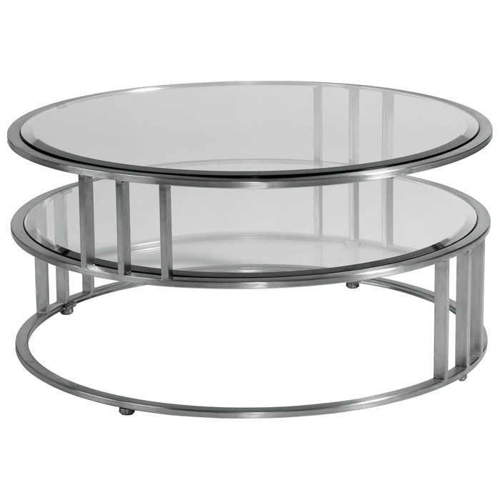 Mirage Round Cocktail Table Brushed Stainless Steel