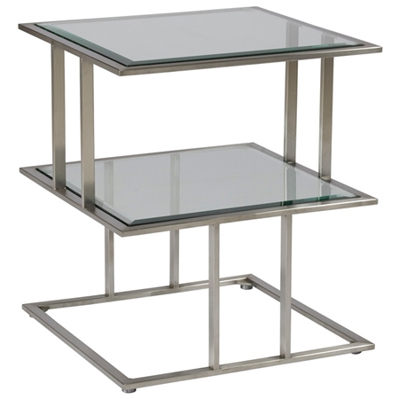 Mirage Square End Table Stainless Steel Smoked Grey