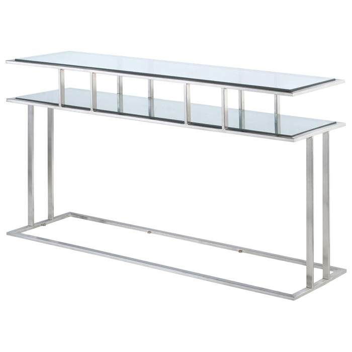 Mirage Console Table Brushed Stainless Steel Clear
