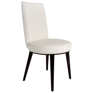 Artesia Dining Chair - White Bonded Leather, Mocha Wood Legs