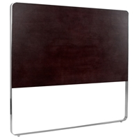 Artesia Panel Headboard - Mocha on Oak Finish, Satin Nickel Frame