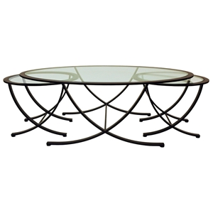 Wellington Nesting Tables Set - Oil Rubbed Bronze, Glass Inlay