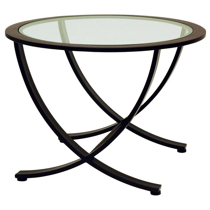 Wellington Metal End Table Oil Rubbed Bronze Round Glass Top