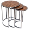 Greta 3 Piece Nesting End Tables Set - Zebrawood, Satin Nickel - ACD-20904-02-3