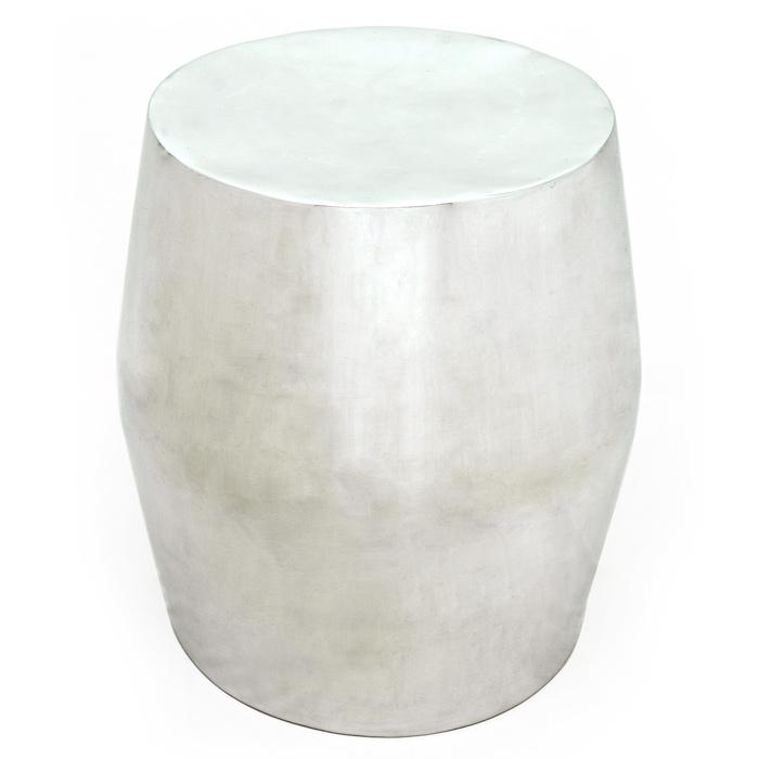 Antiqua Barrel Shaped End Table Polished Cast Aluminum DCG Stores