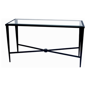 Belmont Console Table - Old Iron, Glass Top, Tapered Legs