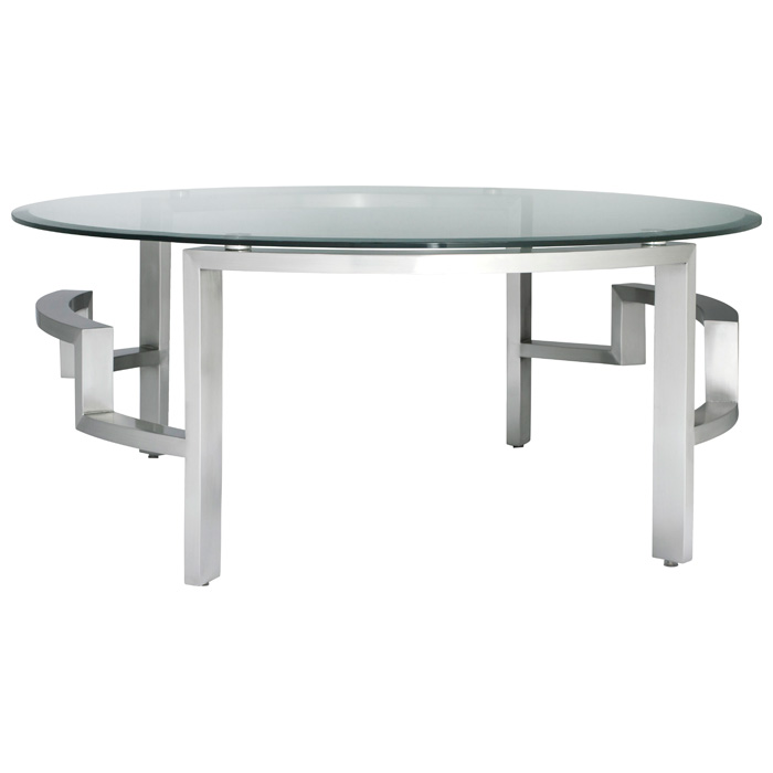 Stainless Steel Coffee Table: Round Glass Top, Brushed Stainless